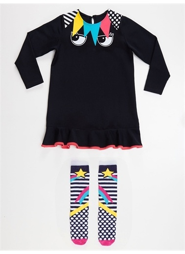 Denokids Perçem Kız Elbise+Çorap Lacivert